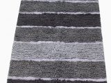 "Gray Bath Rug Runner Chardin Home Cordural Stripe Bath Rug Runner with Skid Resistant Latex Spray Underneath Gray Charcoal 24"" W X 60 L"