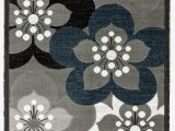 Gray White Blue area Rug Newport Collection Gray White Navy Blue Floral Modern area Rug
