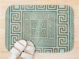 Greek Key Bath Rug Greek Key ornament Greek Meander Gold and Mint