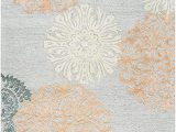 Grey and Peach area Rug Rizzy Home Eden Harbor Collection Wool Viscose area Rug 9 X 12 Peach orange Gray Rust Blue Medallion