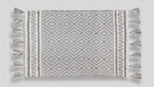 Grey and White Bath Rug Geometric Tassel Bath Mat 80cm X 50cm – Grey