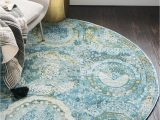 Grey Blue Round Rug Light Blue 5 5 X 5 5 Santiago Round Rug area Rugs Rugs