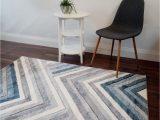 Grey White and Blue Rug Milan Rug Chevron Grey White Blue