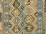 Halyn Hand Knotted Rug Blue Multi Blue 4 X 5 7 Kilim Maymana Rug Esalerugs