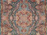 Hand Knotted Persian area Rug Floral Teal Green Tabriz Persian Hand Knotted 7×10 Wool Silk
