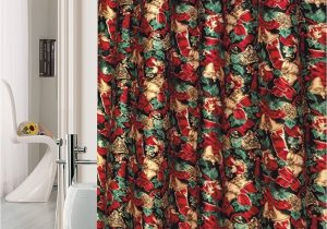 Holiday Bath Rug Set Seasons Greetings 15 Piece Shower Curtain Bath Set 1 Bath Rug 1 Contour Mat 1 Shower Curtain 12 Piece Matching Fabric Shower Curtain Rings Jingle