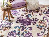 Huntington Home Shag area Rug Huntington El02 Ombre Damask Purple Rug