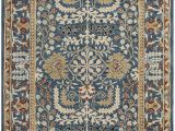 Isanotski Brown Blue area Rug Antiquity Hand Tufted Dark Blue area Rug