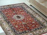 Ivory and Red area Rugs Ivory Border Red Small Handknotted Silk area Rug