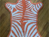 Jonathan Adler Bath Rug Jonathan Adler Faux Zebra Pelt Bath Rug Mat orange Cotton Reversible Vg