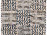 Jute and Blue Rug Dash & Albert Tiles Blue Jute Rug 2×3