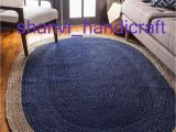 Jute and Blue Rug Indian Hand Braided Bohemian Blue Natural Jute area Rug Oval