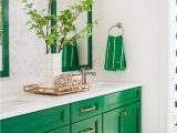 Kelly Green Bathroom Rugs Green and Neutral Bathroom with Mirrors Patterned Wallpaper