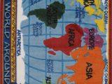 Kids Blue area Rug Horner Kids World Map Classroom Blue area Rug