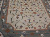 """Large area Rug with Fringe Vintage Rug Woven Floral area Rug Carpet 112"""" X 73 Fringe Edge Grey Green Border Rectangle"""