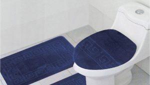 "Large Blue Bathroom Rug 3 Piece Bath Rug Set Pattern Bathroom Rug 20""x32"" Contour Mat 20""x20"" with Lid Cover Sky Blue"