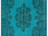 """Large Blue Wool Rug Blue Overdyed Rug 6 00"""" X 9 21"""" Handknotted Rug area"""