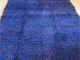 Large Blue Wool Rug Vintage Moroccan Pile Rug Cobalt Blue Hand Woven 1970s