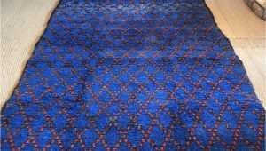 Large Blue Wool Rug Vintage Moroccan Pile Rug Cobalt Blue Hand Woven 1970s Wool Rug Geometric Red Diamond Design