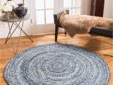 """Large Round Blue Rug """"brasilia"""" Blue Cotton Round Rug"""