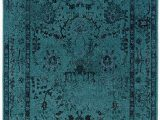Large Round Blue Rug Teal Blue Overdyed Style area Rug with Ikea oriental