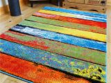 Large Thick soft area Rugs Multi Coloured Stripe Funky Bright Modern Thick soft Heavy Quality area Rug Small Medium Xx Large Rug New Modern soft Navy Yellow Blue Red Carpet Non
