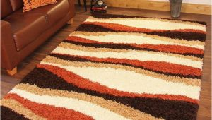 Large Thick soft area Rugs Shaggy Rug Thick soft Warm Terracotta Burnt orange Cream