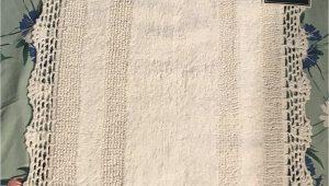 "Laura ashley Luxury Chenille Bath Rug New Laura ashley Crochet Trim White Cotton Bath Rug Mat 21"" X 34"" Reversible"