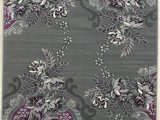 Lavender and Gray area Rugs Purple Grey Silver Black Abstract area Rug Modern Floral Rug