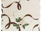 """Lenox Holiday Nouveau Bath Rug Lenox Quilted Reversible Christmas Holiday Nouveau Table Runner 14"""" X 36"""" Polyester"""