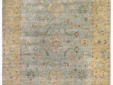 Light Blue and Brown area Rugs Exquisite Rugs Oushak Hand Knotted 3344 Light Blue Gold area Rug