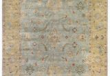 Light Blue and Gold area Rug Exquisite Rugs Oushak Hand Knotted 3344 Light Blue Gold area Rug