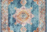 Light Blue and orange area Rugs Cinar oriental Light Blue orange area Rug In 2020