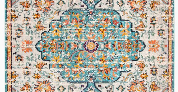 Light Blue and orange area Rugs Gutierez oriental Gray Light Blue orange area Rug