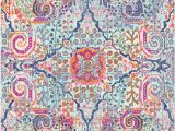 Light Blue and Pink area Rug Sanjana Light Blue Pink orange area Rug