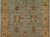 Light Blue and Tan Rug Light Blue Field with Tan Border area Rug