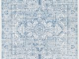 Light Blue Geometric Rug Micro Patterns Make Up One Larger yet Delicate Motif On This