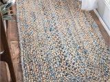 Light Blue Jute Rug Nuloom Handmade Braided Denim Rag Cotton and Jute Blend area