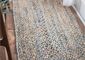 Light Blue Jute Rug Nuloom Handmade Braided Denim Rag Cotton and Jute Blend area