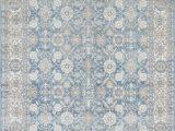 Light Blue Modern Rug Silver ash Gray Ivory Light Blue Faded oriental Distressed