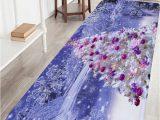 Light Purple Bath Rug Christmas Tree Snowscape Print Flannel Skidproof Bath Mat