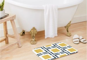 Light Yellow Bath Rug Squared Geometric Pattern In Light Mustard Yellow Navy Blue and White Bath Mat