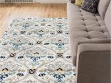 """Living Spaces area Rugs 5×7 Ogee Waves Lattice Grey Gold Blue Ivory Floral area Rug 5×7 5 3"""" X 7 3"""" Modern oriental Geometric soft Pile Contemporary Carpet Thick Plush Stain"""