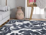 """Living Spaces area Rugs 5×7 Victoria Grey Modern Damask Microfiber 5×7 5 3"""" X 7 3"""