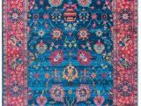 Machine Washable area Rugs 5×7 Mylife Rugs Traditional Vintage Non Slip Machine Washable Printed area Rug Blue Hot Pink 5 X7