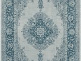 Machine Washable area Rugs 5×7 Ruggable Washable Stain Resistant Pet area Rug Parisa Blue 5 X 7