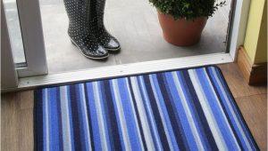 Machine Washable Rubber Backed area Rugs Bright Blue Striped Machine Washable Rug Non Slip Long