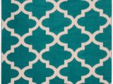 """Mainstays Polyester solid Textured Shag area Rug and Runner Collection Mainstays Quatrefoil Geometric Teal Ivory 7 6""""x9 6"""" Indoor"""