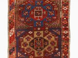 Maroon and Blue Rug Antique Yuruk Traditional Burgundy Red and Blue Wool Rug