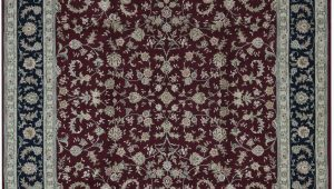 Maroon and Blue Rug oriental Hand Knotted Wool Maroon Navy Blue Ivory area Rug